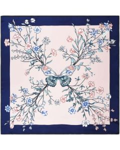 "Corciova 14 Momme 35"" Large Women's 100% Real Silk Square Hair Scarf Wrap Headscarf Butterfly Flower"