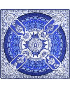 """Corciova 14 Momme 35"""" Large Women's 100% Real Silk Square Hair Scarf Wrap Headscarf Blue And White Auspicious Totem"""