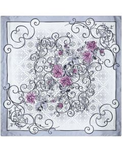 "Corciova 14 Momme 35"" Large Women's 100% Real Silk Square Hair Scarf Wrap Headscarf Gray White Flower"
