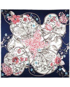 "Corciova 14 Momme 35"" Large Women's 100% Real Silk Square Hair Scarf Wrap Headscarf Hyacinth Flower"