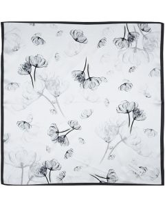 """Women's Small Square 100% Real Mulberry Silk Scarfs Scarves 21"""" x 21"""" Tulip Black White"""