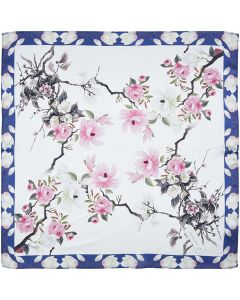 """Women's Small Square 100% Real Mulberry Silk Scarfs Scarves 21"""" x 21"""" Pink Flowers Snow White"""