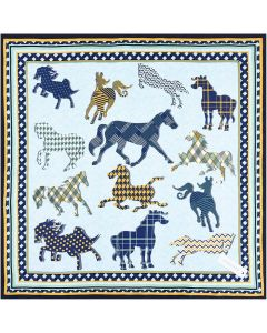 21 Inches 53 CM Womens Real Silk Square Scarf Running Horses Pattern