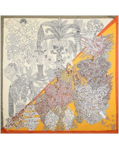 """Corciova 35"""" 14 Momme Twill 100% Real Mulberry Silk Square Women Scarfs Scarves Lion Goat Colorful Trees Patterns"""