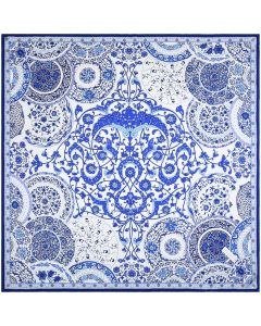 """Corciova 35"""" 14 Momme Twill 100% Real Mulberry Han Blue and White Flowers Patterns Silk Square Women Scarfs Scarves"""
