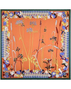 """Corciova 35"""" 14 Momme Twill 100% Real Mulberry Silk Square Women Scarfs Scarves Wheats Heather Flowers Patterns"""