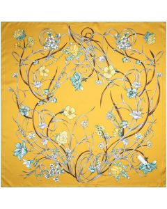 """Corciova 35"""" 14 Momme Twill 100% Real Mulberry Silk Square Women Scarfs Scarves Naples Yellow Flowers Patterns"""
