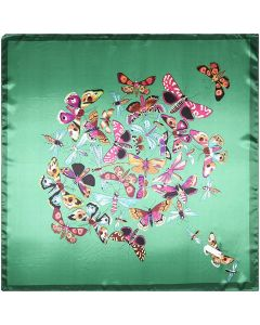 "35"" Polyester Silk Feeling Square Summer Scarf Smooth Imported Butterfly Pattern"