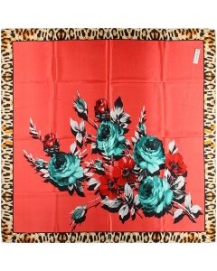 Ladies Pretty Polyester Neckerchief Square Scarf headband 35 x 35 inches Flowers Leopard Pattern