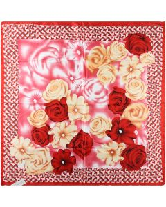 "35"" Ladies Polyester Square Silk Like Hair Scarves and Wraps Headscarf for Sleeping Grid Flower Pattern"