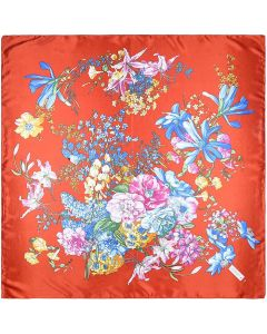 Large Square Polyester Silk Like Lightweight Scarfs Hair Sleeping Wraps for Women Colorful Flowers Pattern