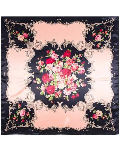 "Corciova 35"" Large Women's Polyester Square Silk Feeling Hair Scarf Wrap Headscarf Pink Flowers Pattern"