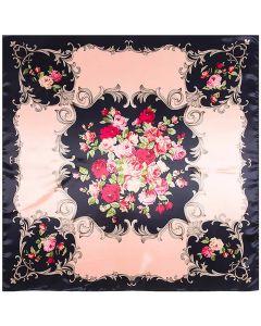 "Corciova 35"" Large Women's Polyester Square Silk Feeling Hair Scarf Wrap Headscarf Pink Flowers Pattern"