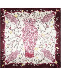 Large Square Polyester Silk Like Lightweight Scarfs Hair Sleeping Wraps for Women Branches Birds Flowers Pattern