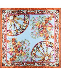 Large Square Polyester Silk Like Lightweight Scarfs Hair Sleeping Wraps for Women Safety Orange Flowers