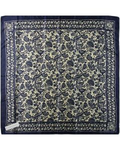 """35"""" Ladies Polyester Square Silk Like Hair Scarves and Wraps Headscarf for Sleeping Navy and Banana Mania Pattern"""