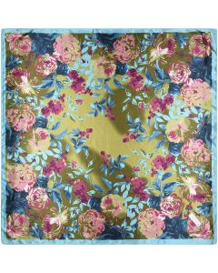 Large Square Polyester Silk Like Lightweight Scarfs Hair Sleeping Wraps for Women Pink Turquoise Camellia Floral Flower Pattern