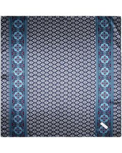 """Corciova 35"""" Large Women's Polyester Square Silk Feeling Hair Scarf Wrap Headscarf Navy and White Pattern"""