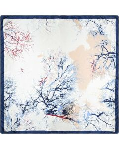 """Corciova 35"""" Large Women's Polyester Square Silk Feeling Hair Scarf Wrap Headscarf Prussian Blue and Beige Trees Pattern"""