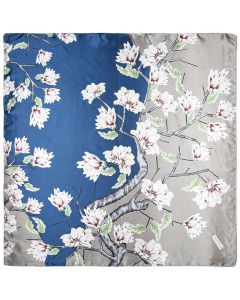"35"" Women Silk Feeling 90 cm Square Hair Neck Sleeping Scarf Two-color Magnolia"