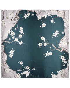 "35"" Women Silk Feeling 90 cm Square Hair Sleeping Scarf Peach blossom"