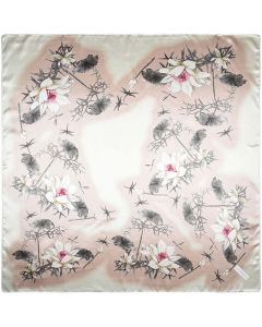 "35"" Women Silk Feeling 90 cm Square Hair Sleeping Scarf Sketch Lotus"
