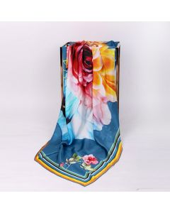 "Corciova 55"" 12 Momme Satin 100% Real Mulberry Silk Square Women Scarfs Scarves Flower Pattern"