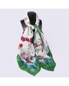 "Corciova 55"" 12 Momme Satin 100% Real Mulberry Silk Square Women Scarfs Scarves Flower Basket Patterns"