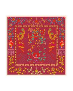 "Corciova 55"" 12 Momme Satin 100% Real Mulberry Silk Square Women Scarfs Scarves Phoenix Patterns"