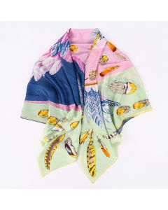 """Corciova 55"""" 12 Momme Satin 100% Real Mulberry Silk Square Women Scarfs Scarves Angel Wings Patterns"""
