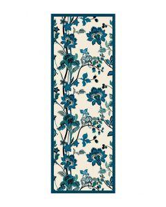 Corciova 12 Momme Satin 100% Real Mulberry Silk Long Women Scarfs Scarves Blue Flower Pattern