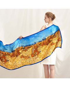Corciova 14 Momme Satin 100% Real Mulberry Silk Long Women Scarfs Scarves Golden Wheat Field Pattern