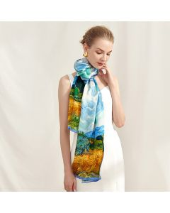 Corciova 14 Momme Satin 100% Real Mulberry Silk Long Women Scarfs Scarves Beautiful Nature Pattern