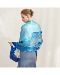 Corciova 14 Momme Satin 100% Real Mulberry Silk Long Women Scarfs Scarves Blue Sea Pattern