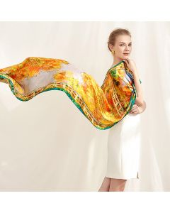 Corciova 14 Momme Satin 100% Real Mulberry Silk Long Women Scarfs Scarves Golden Oil Painting Pattern