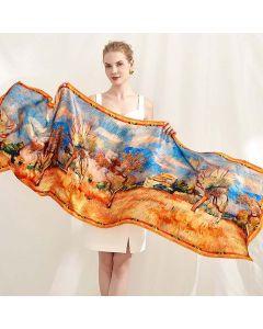 Corciova 14 Momme Satin 100% Real Mulberry Silk Long Women Scarfs Scarves Beautiful Autumn Pattern