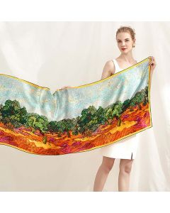 Corciova 14 Momme Satin 100% Real Mulberry Silk Long Women Scarfs Scarves Forest Pattern