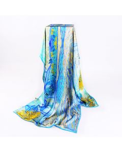 Corciova 12 Momme Double Layer Satin 100% Real Mulberry Silk Long Women Scarfs Scarves Beautiful Countryside Pattern