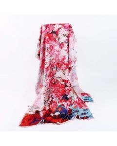 Corciova 12 Momme Double Layer Satin 100% Real Mulberry Silk Long Women Scarfs Scarves Beautiful Flowers Pattern