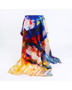 Corciova 12 Momme Double Layer Satin 100% Real Mulberry Silk Long Women Scarfs Scarves Lotus Oil Painting Pattern