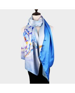 Corciova 12 Momme Double Layer 100% Real Mulberry Silk Long Women Scarfs Scarves Flower Pattern
