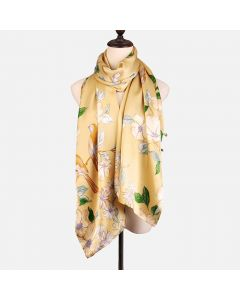 Corciova 12 Momme Double Layer 100% Real Mulberry Silk Long Women Scarfs Scarves Flowers and Birds Pattern