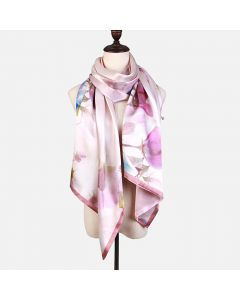 Corciova 12 Momme Double Layer 100% Real Mulberry Silk Long Women Scarfs Scarves Flowers Pattern
