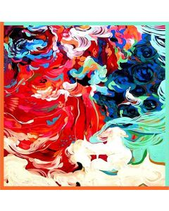 """Corciova 25"""" 12 Momme Satin 100% Real Mulberry Silk Square Women Scarfs Scarves Colorful Auspicious Cloud Pattern"""