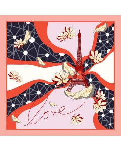 """Corciova 25"""" 12 Momme Satin 100% Real Mulberry Silk Square Women Scarfs Scarves Eiffel Tower Pattern"""