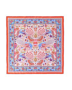 """Corciova 25"""" 12 Momme Twill 100% Real Mulberry Silk Square Women Scarfs Scarves Beautiful Peacock Pattern"""