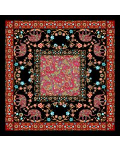 """Corciova 25"""" 12 Momme Twill 100% Real Mulberry Silk Square Women Scarfs Scarves Elephants and Flowers Pattern"""