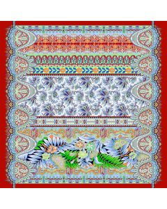 """Corciova 25"""" 12 Momme Twill 100% Real Mulberry Silk Square Women Scarfs Scarves Flowers and Grass Pattern"""