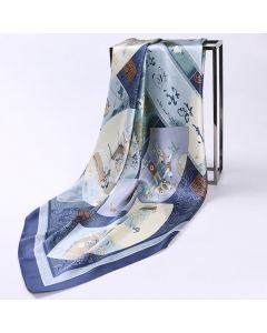 """Corciova 43"""" 16 Momme Satin 100% Real Mulberry Silk Square Women Scarfs Scarves Chinese Fan and Couplet Pattern"""