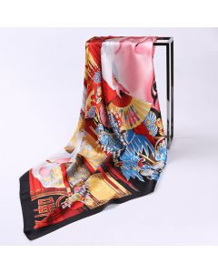 """Corciova 43"""" 16 Momme Satin 100% Real Mulberry Silk Square Women Scarfs Scarves Chinese Style Imperial Concubine Drunk Pattern"""